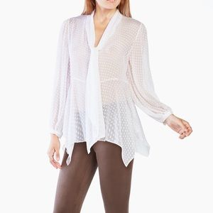 Bcbgmaxazria Dot Tie-Neck Blouse